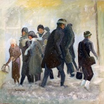 Hustle in the Snow,28X28,o/c