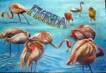 The Postcard (Florida Flamingo's), 18x24, o/c